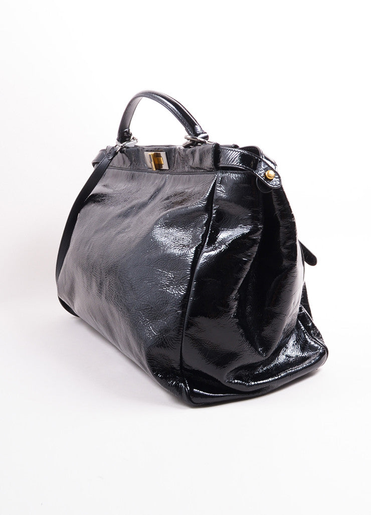 "Fendi Black Patent Leather Wrinkled ""Peekaboo"" Satchel Bag Sideview"