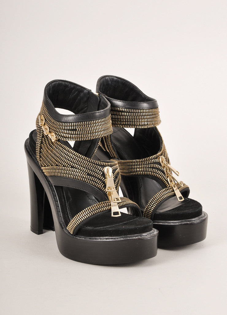 Givenchy Black Zippered Chunky Platform Heel Leather Sandals Frontview