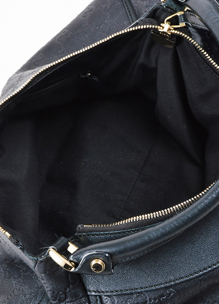 "Gucci Black Leather Logo Embossed ""Guccissima"" Hobo Bag Interior"