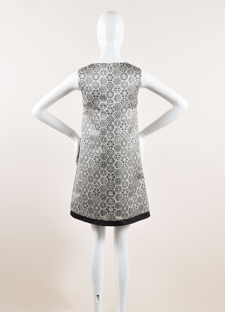Gucci Black, White, and Metallic Silver Silk Woven Geometric Shift Dress Backview