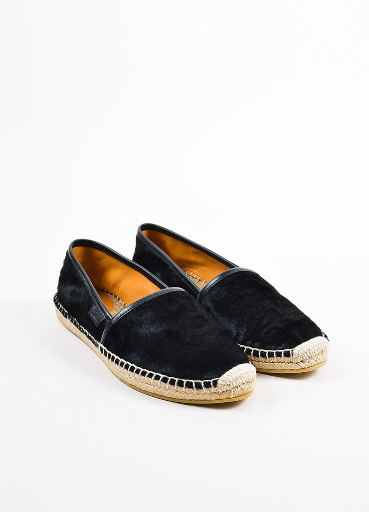 Black Gucci Ponyhair Espadrille Loafers Front