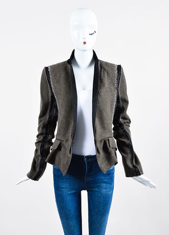 Brown, Black, and White Haider Ackermann Wool Patchwork Blazer Frontview