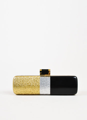 Halston Heritage Black, Gold, and Silver Lacquered Glitter Minaudiere Clutch Bag Frontview