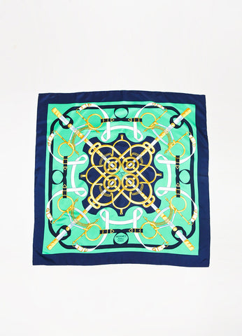 "Hermes Green, Navy, and Yellow Silk Equestrian Print ""Eperon D'Or"" Scarf Frontview 2"