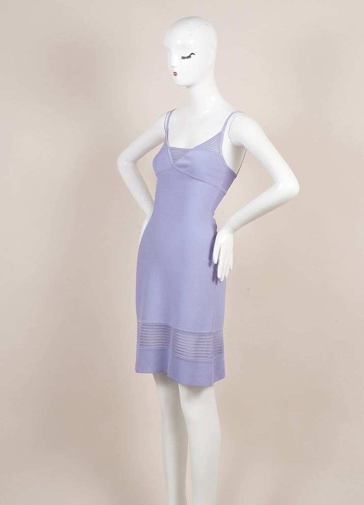 Herve Leger Purple Spaghetti Strap Bodyon Dress Sideview