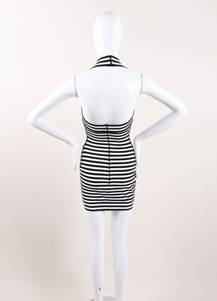 Herve Leroux New With Tags Black and White Striped Bodycon Halter Dress Backview