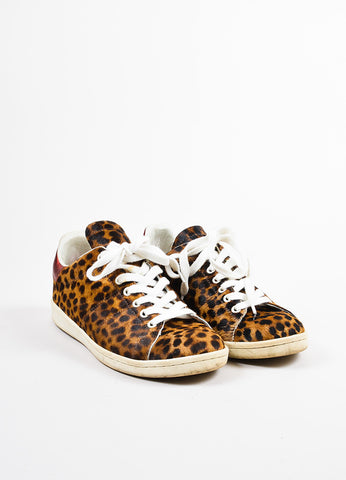Brown and Tan Isabel Marant Etoile Leopard Print Pony Hair Sneakers Front