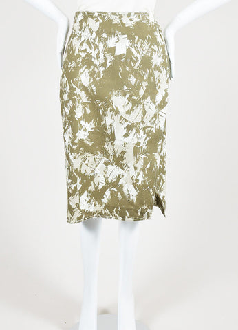 Army Green and Cream Jason Wu Cotton Abstract Print Wrap Skirt Frontview