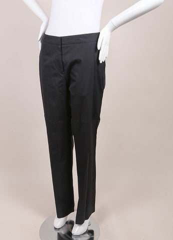 "Jil Sander New With Tags Black Poplin Straight Leg ""Ziazi"" Pants Sideview"