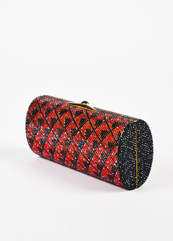 Judith Leiber Black and Red Zig Zag Crystal Embellished Minaudiere Clutch Bag Sideview