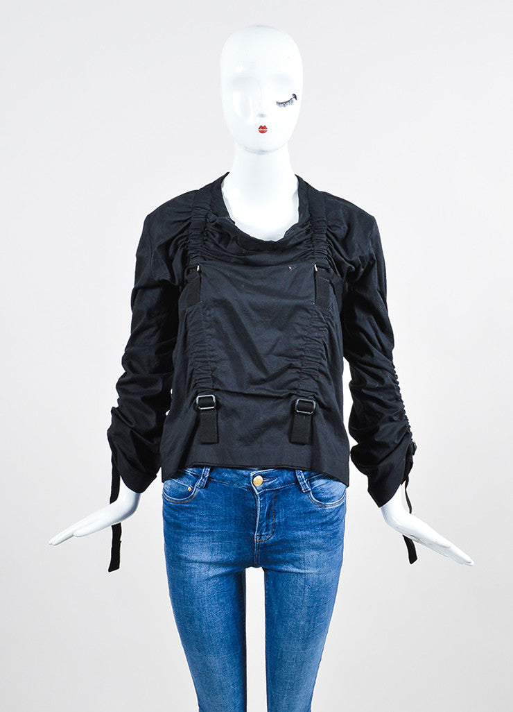 Black Junya Watanabe Comme Des Garcons Buckle Strap Ruching Shirt Frontview