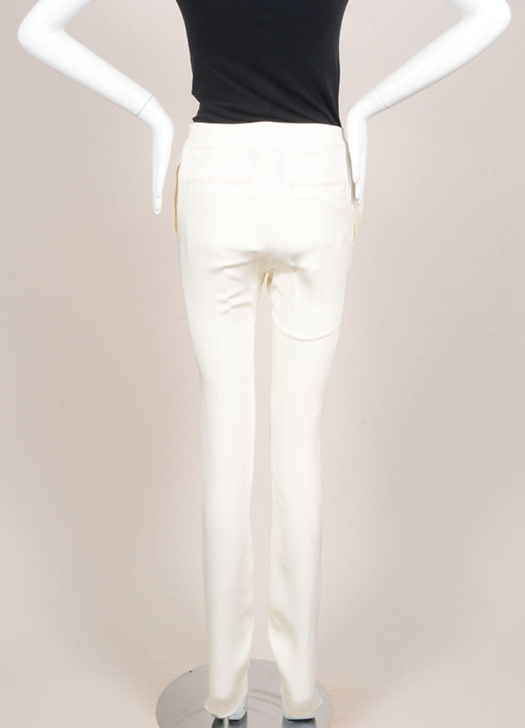 Karolina Zmarlak New With Tags Cream 4-Ply Silk Asymmetric Pleated and Zip Trousers Backview