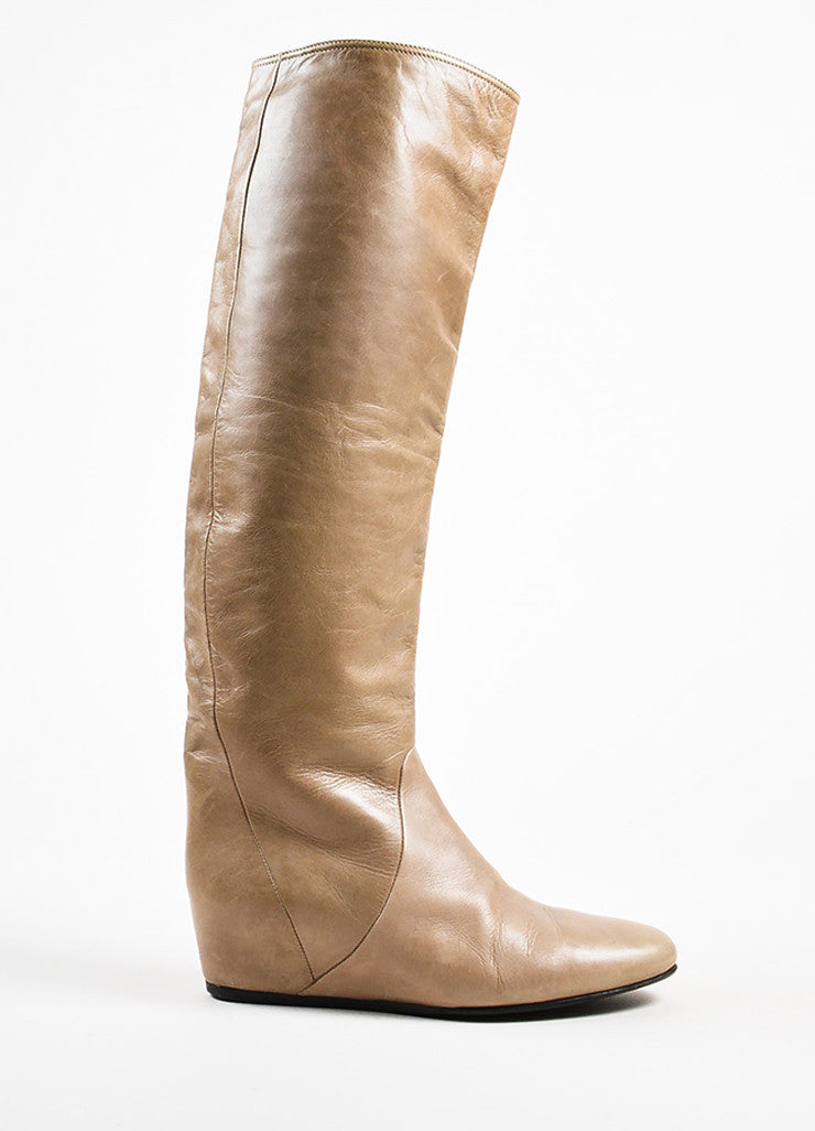 Lanvin Taupe Leather Covered Wedge Heel Knee High Boots Sideview
