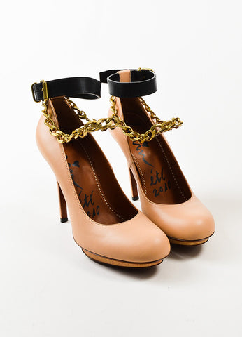 Lanvin Beige and Black Leather Gold Toned Chain Ankle Strap Pumps Frontview