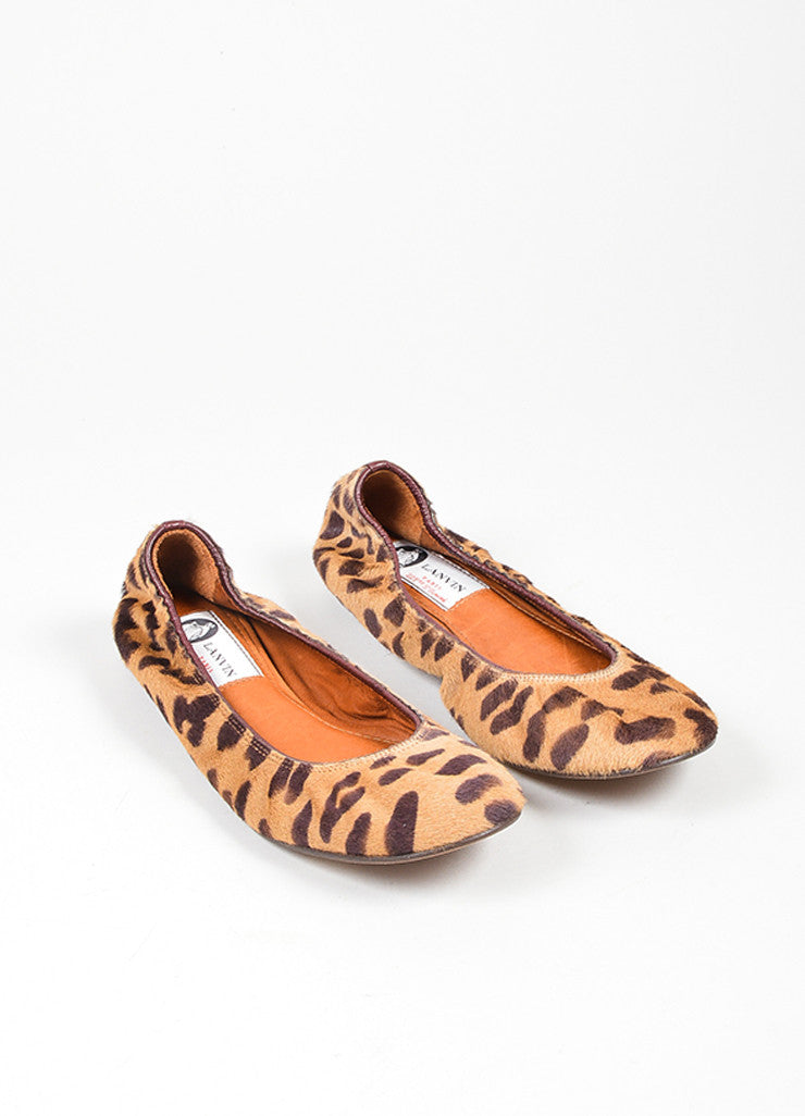 Tan and Brown Lanvin Pony Hair Leopard Round Toe Ballerina Flats Frontview
