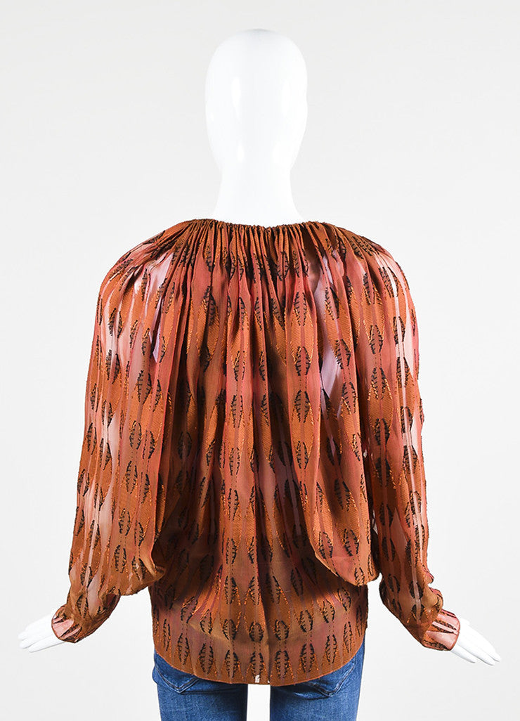 Rust Red and Black Lanvin Semi Sheer Textured Blouse Backview