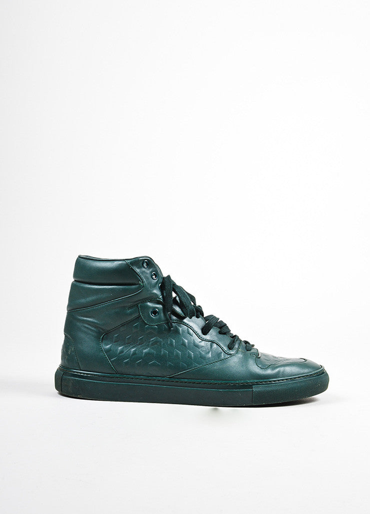 "Men's Balenciaga Green Leather ""Monochrome Debossed"" High Top Sneakers Sideview"