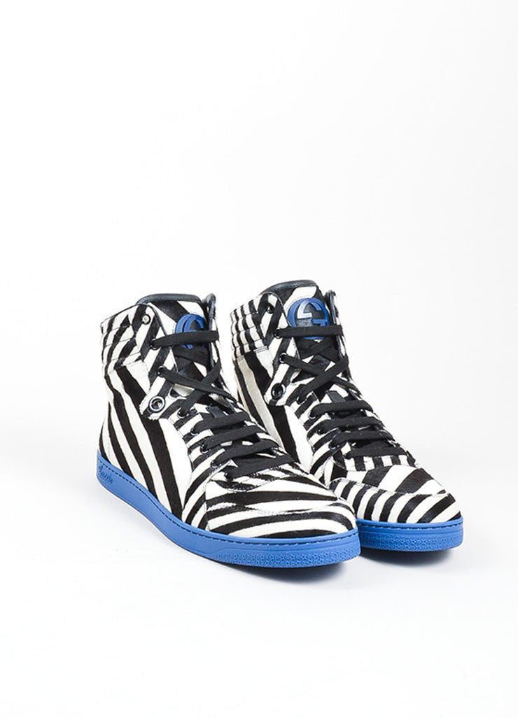 "MEN'S Gucci Blue Zebra Stripe Pony Hair ""Coda"" High Top Sneakers Front"