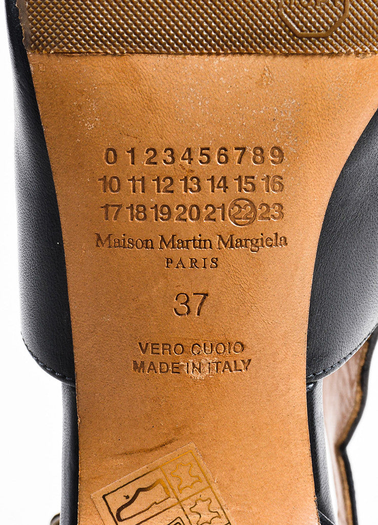 Maison Martin Margiela Black Leather Peep Toe Cut Out Ankle Boots Brand