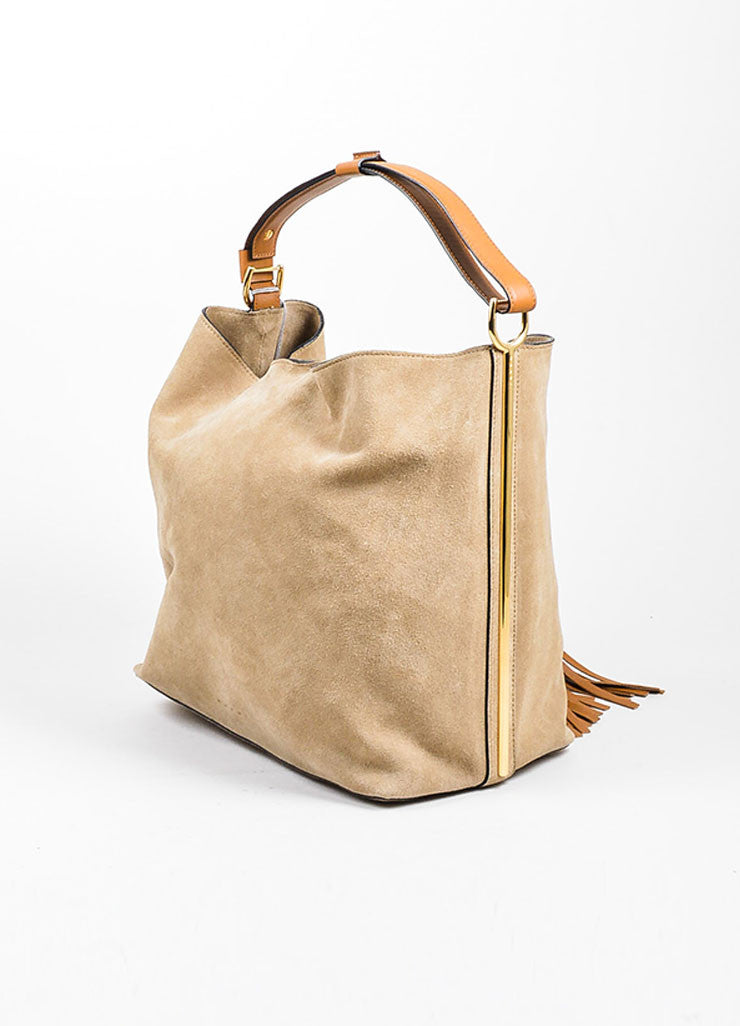 "Tan and Brown ""Dijon"" Marni Suede Tassel Hobo Shoulder Bag Sideview"