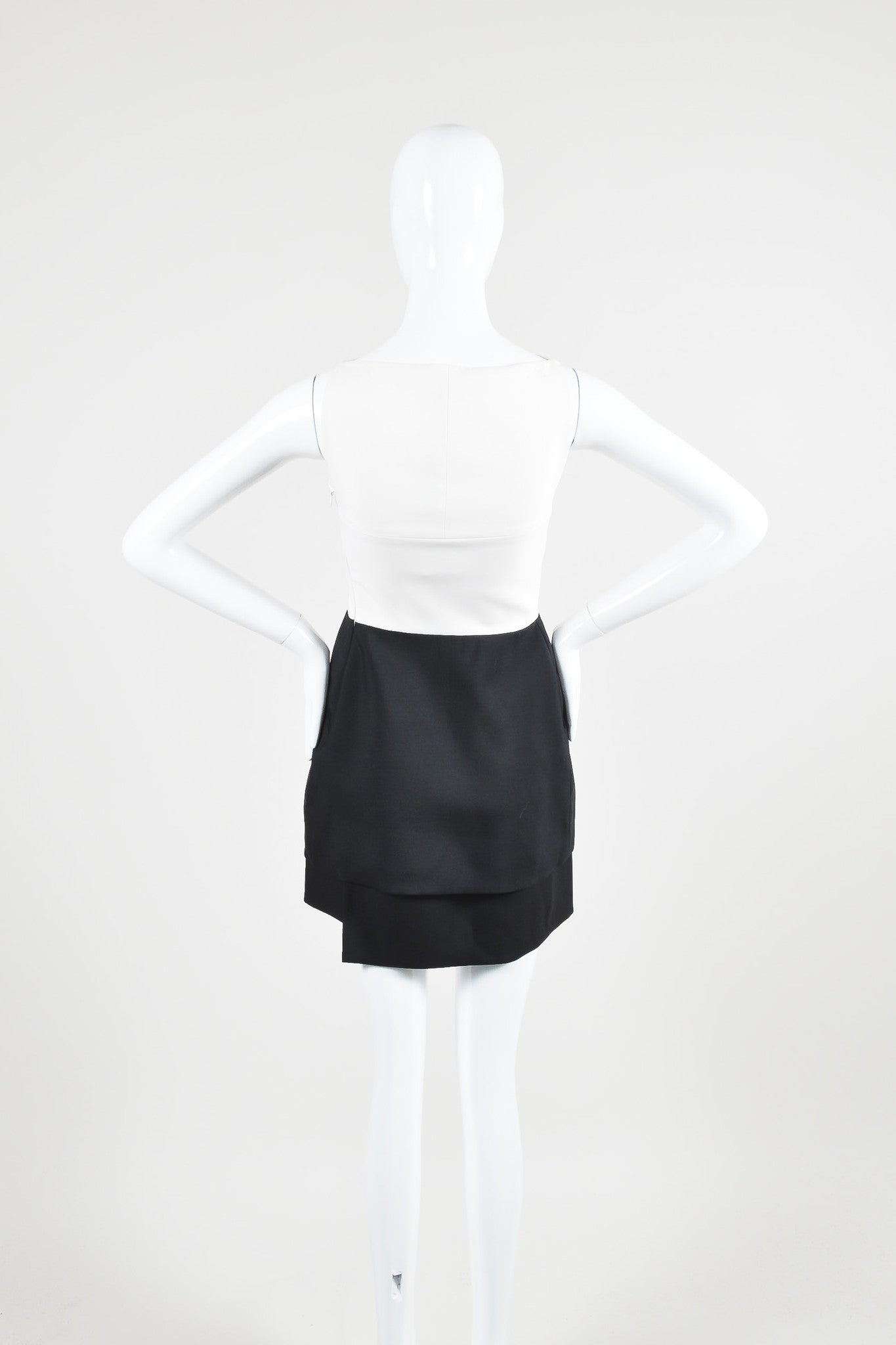 Narciso Rodriquez Black and White Wool and Silk Color Block Layered Dress Backview