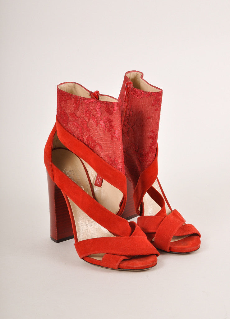 Nicholas Kirkwood for Erdem Red Suede and Lace Stacked Heel Sandals Frontview