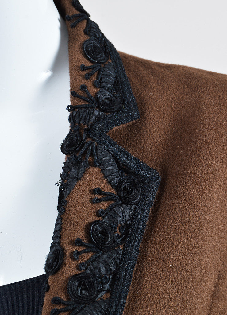 Brown and Black Oscar de la Renta Short Hair Floral Embroidered Crop Jacket Detail