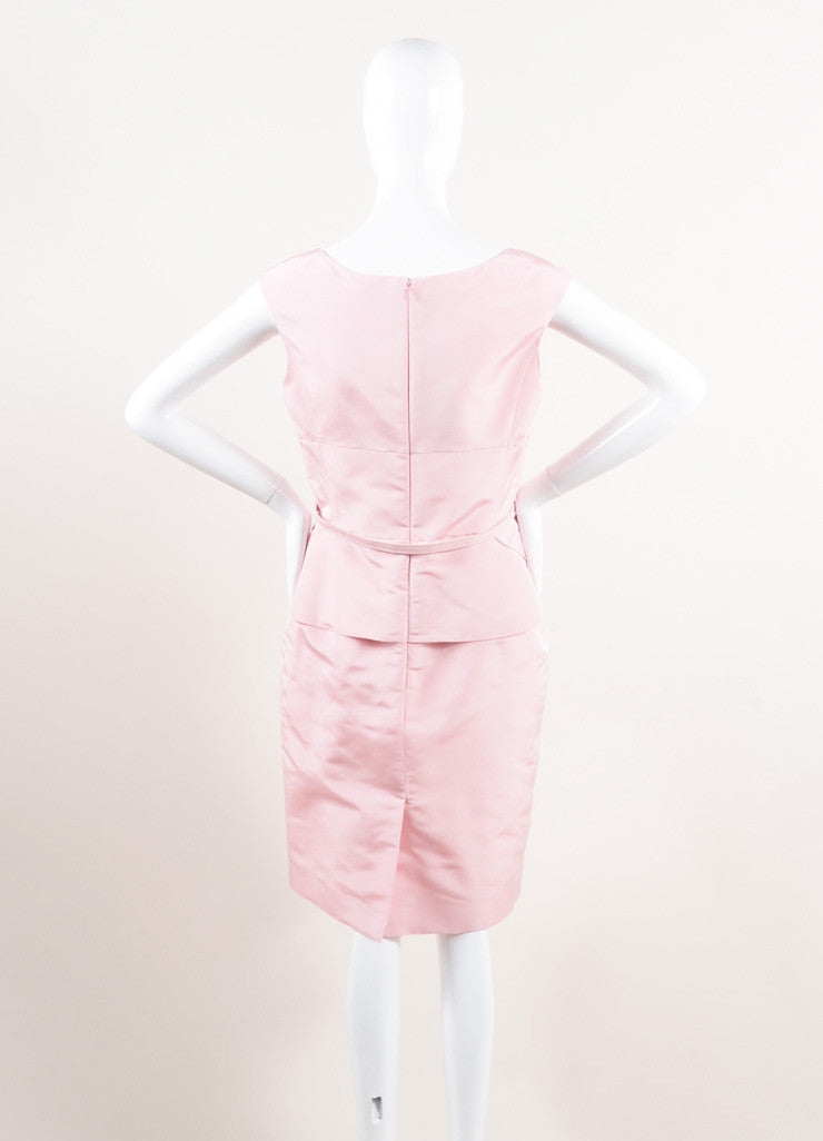 Oscar de la Renta New With Tags Pink Silk Faille Ruffle Waist Sleeveless Sheath Dress Backview