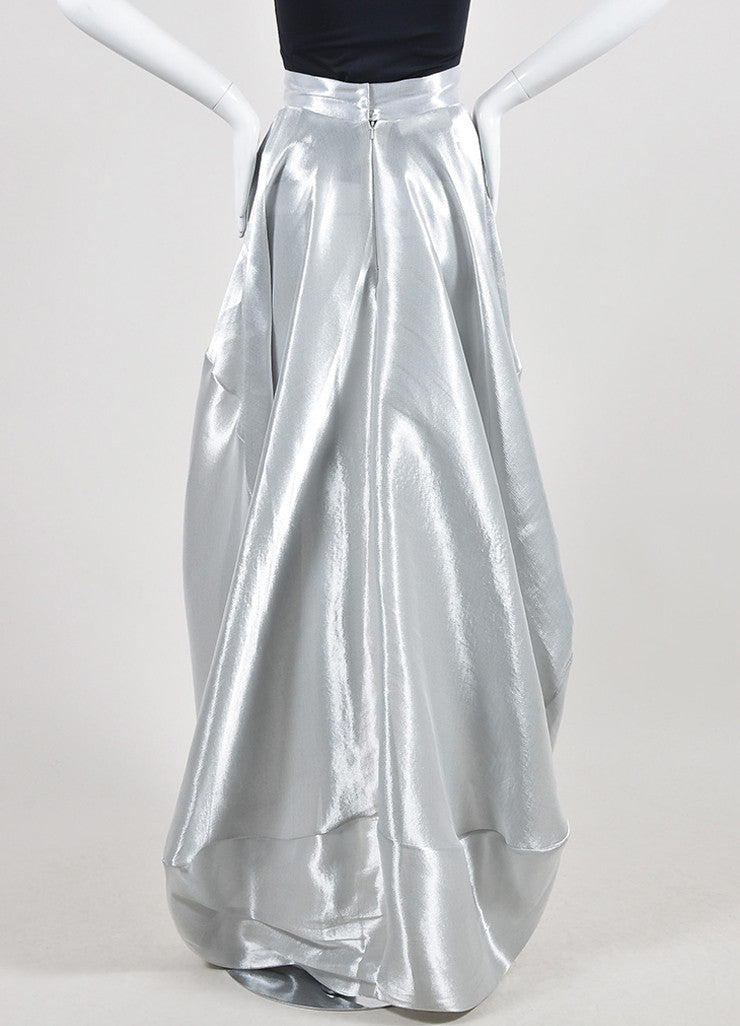 Metallic Silver 	Oscar de la Renta Lame Bubble Train Maxi Skirt Backview