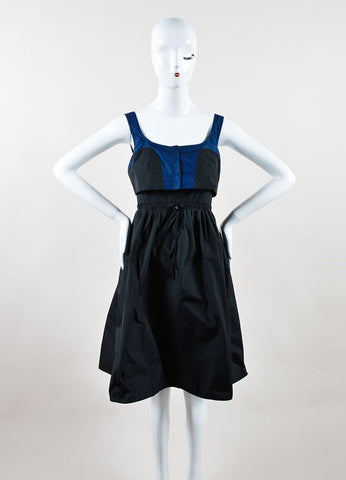 Black and Navy Color Block Proenza Schouler A-Line Sleeveless Dress Frontview