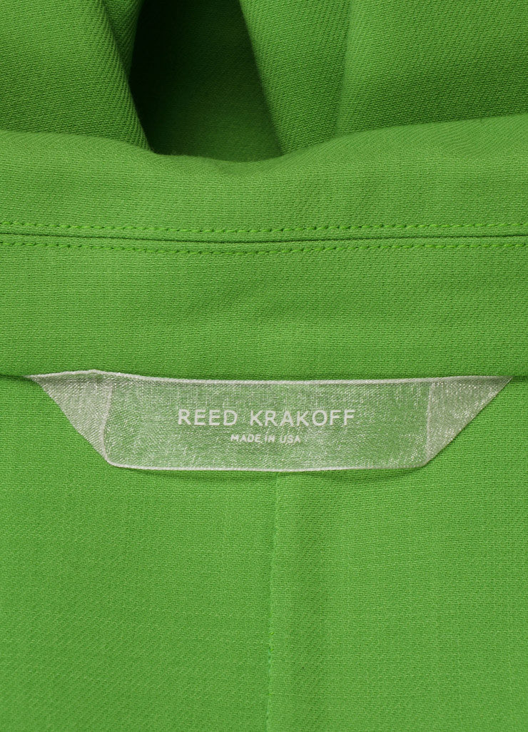 Reed Krakoff New With Tags Green Wool Crepe Long Blazer Jacket Brand