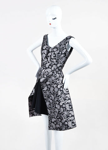 Black and Silver Stella McCartney Brocade Paisley Layered Dress Sideview