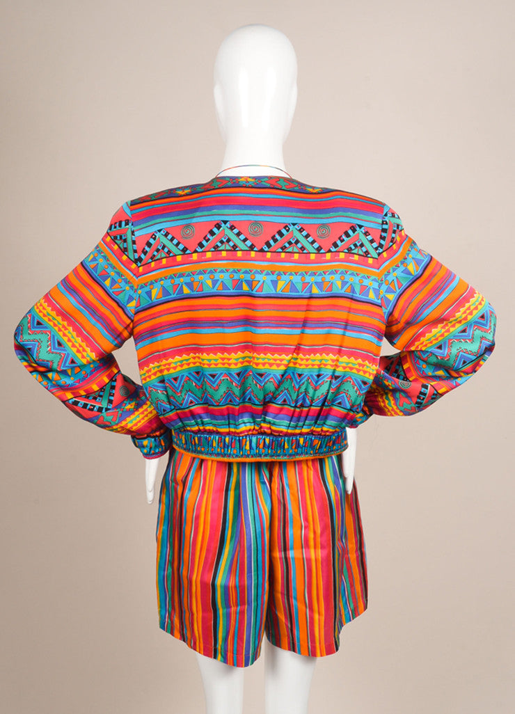 Bob Mackie Multicolor Printed Three Piece Silk Set Backview