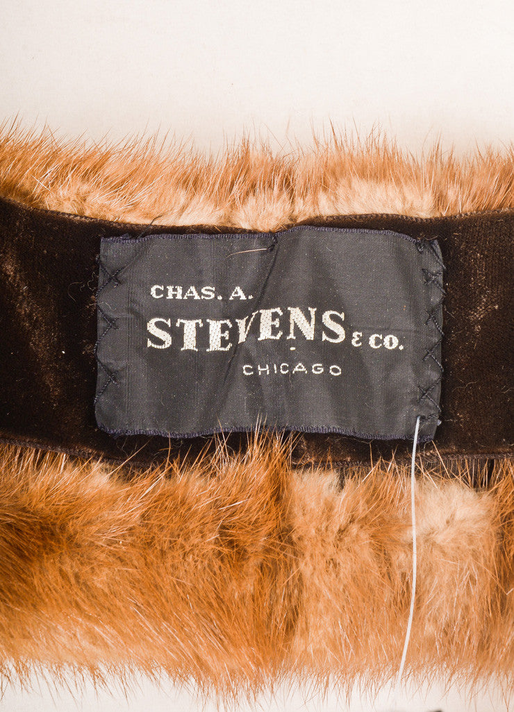 Chas A. Stevens Co. Brown Mink Fur Stole Brand