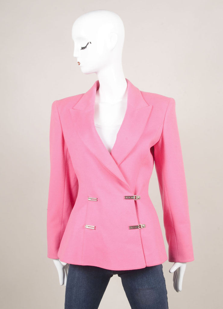Claude Montana Pink Wool Double Breasted Blazer Jacket Frontview