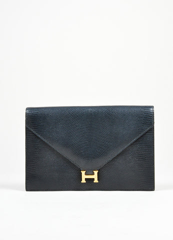 Black Hermes Lizard Leather 'H' Closure Envelope Clutch Front