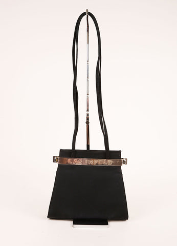 Karl Lagerfeld Black Evening Shoulder Bag Frontview