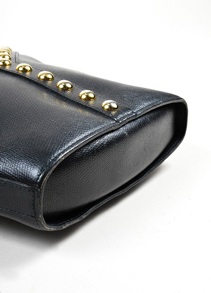 "Black Yves Saint Laurent Leather Studded ""Y"" Crossbody Bag Bottom View"