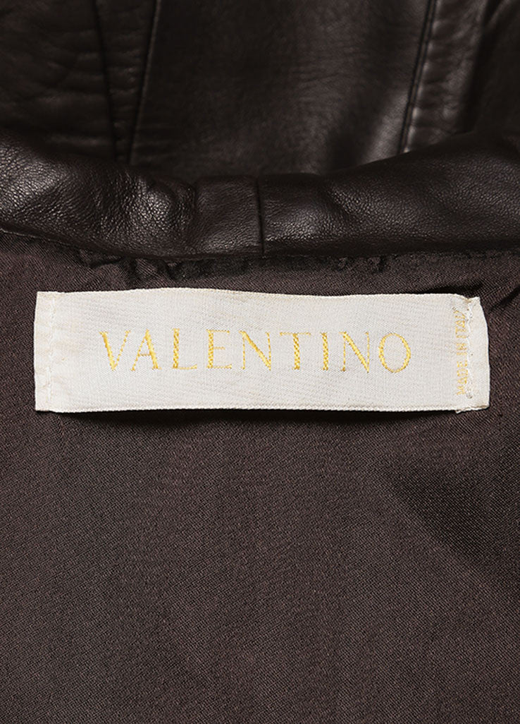 Valentino Brown Bottom Ruffle Leather Jacket Brand