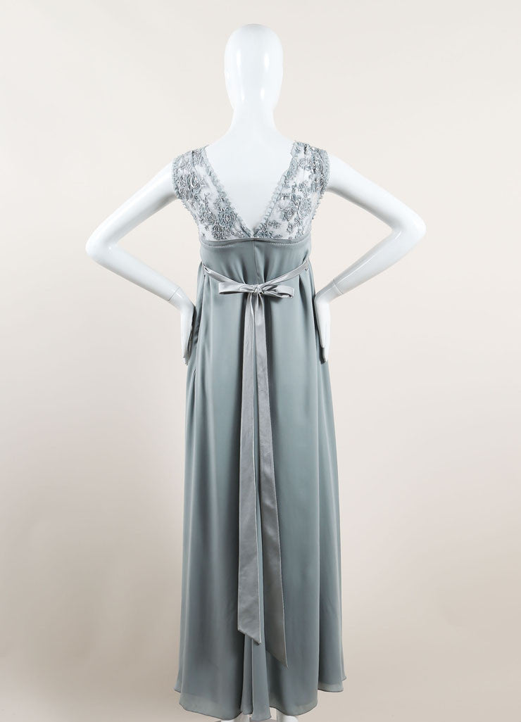 Valentino Mint Blue Silky Sheer Lace Sequin Embellished Sleeveless Gown Backview