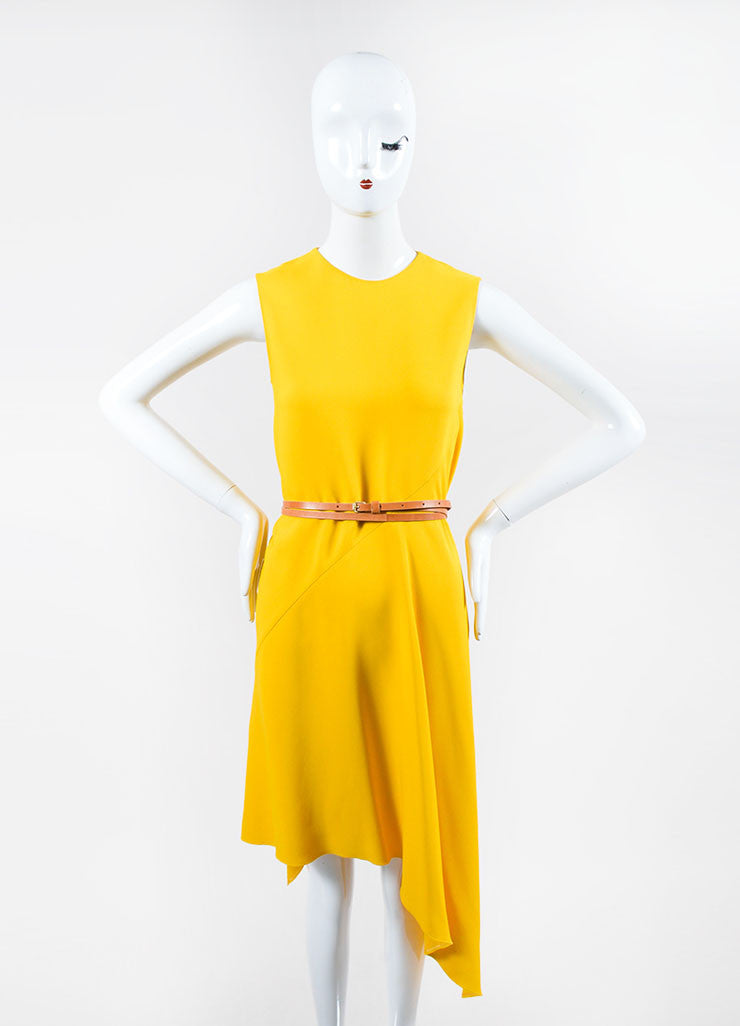 Canary Yellow Victoria Beckham Crepe Belted Sleeveless Swing Drape Dress Frontview