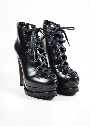 "Black Alaia Lace Up Track Sole ""Trekking"" Heel Booties Frontview"
