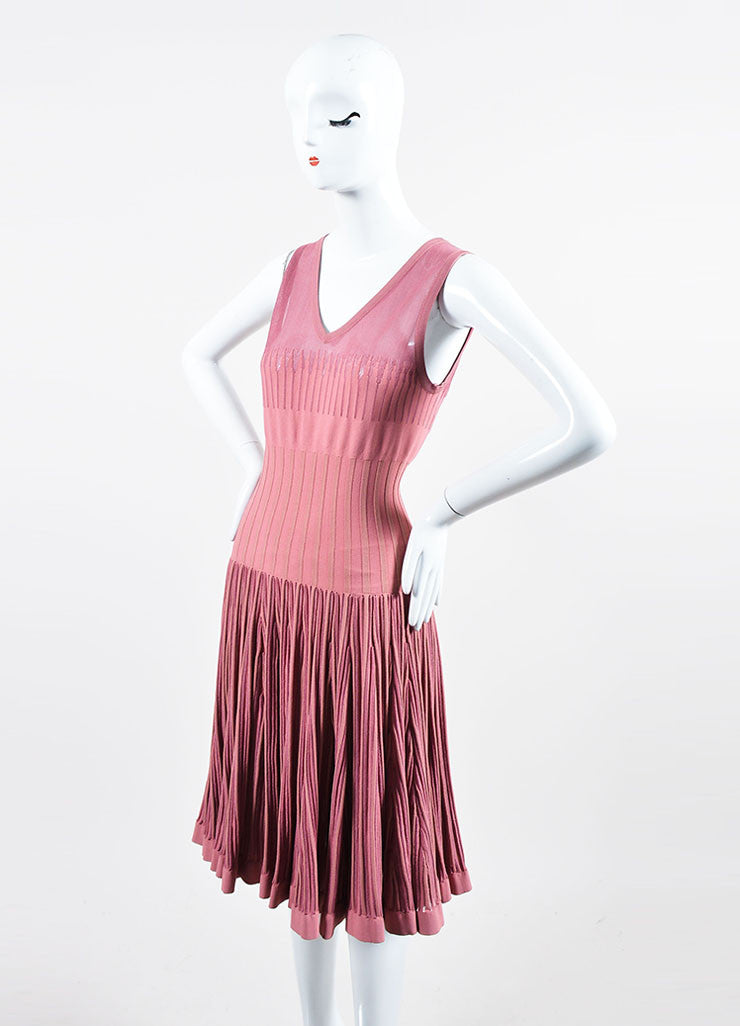 Rose Pink Alaia Sheer Panel Sleeveless Stretch Skater Dress Sideview