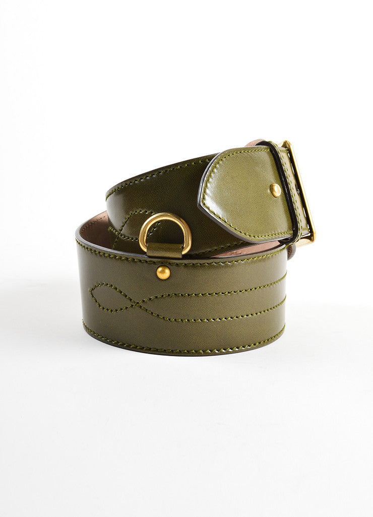 Alexander McQueen Olive Green Leather Stitched Wide Waist Belt Sideview