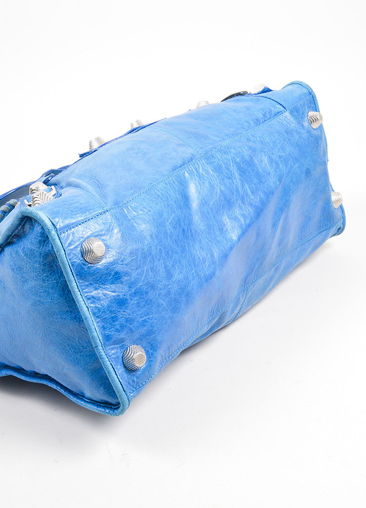 "Blue Balenciaga Leather ""Giant Part Time"" Satchel Bag Bottom View"