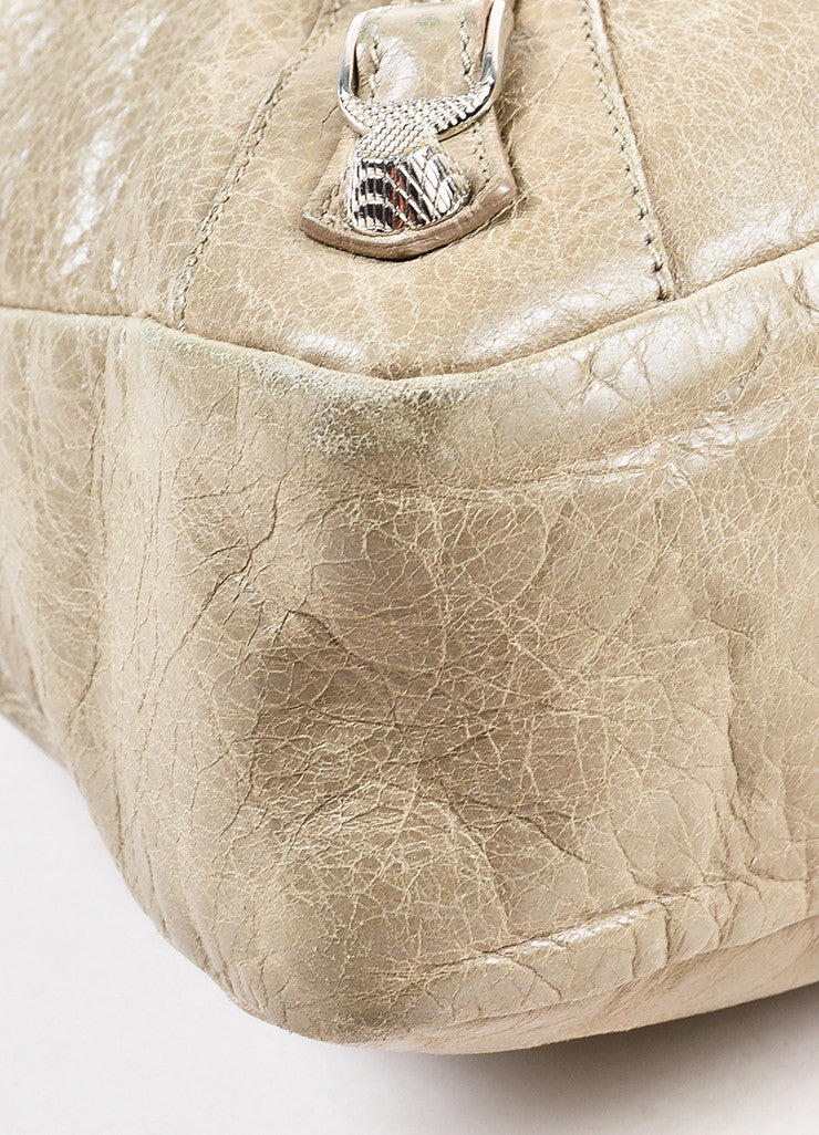 "Balenciaga Taupe Grey Leather Silver Toned Studded ""Giant 12 Town"" Bag Detail"