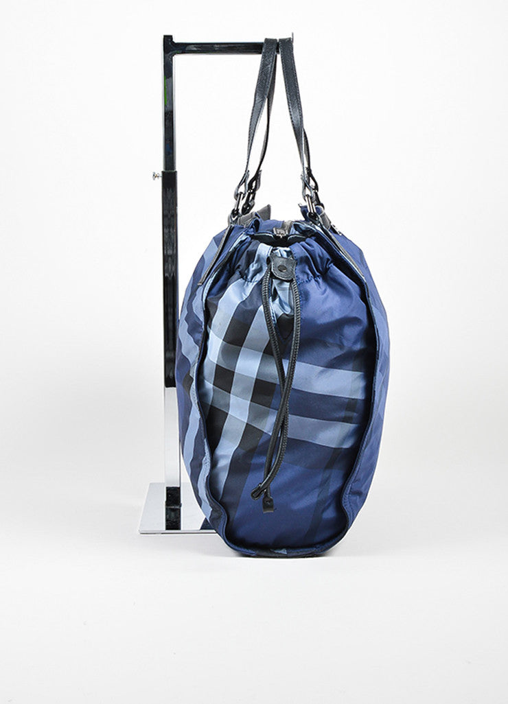 "Burberry Prorsum Blue Plaid ""Check Packable"" Tote Bag Sideview"