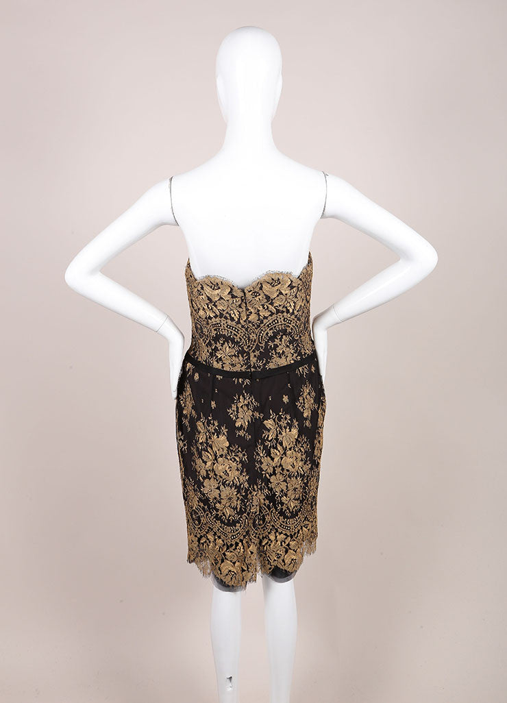 Carolina Herrera New With Tags Black and Gold Lace Strapless Dress Backview