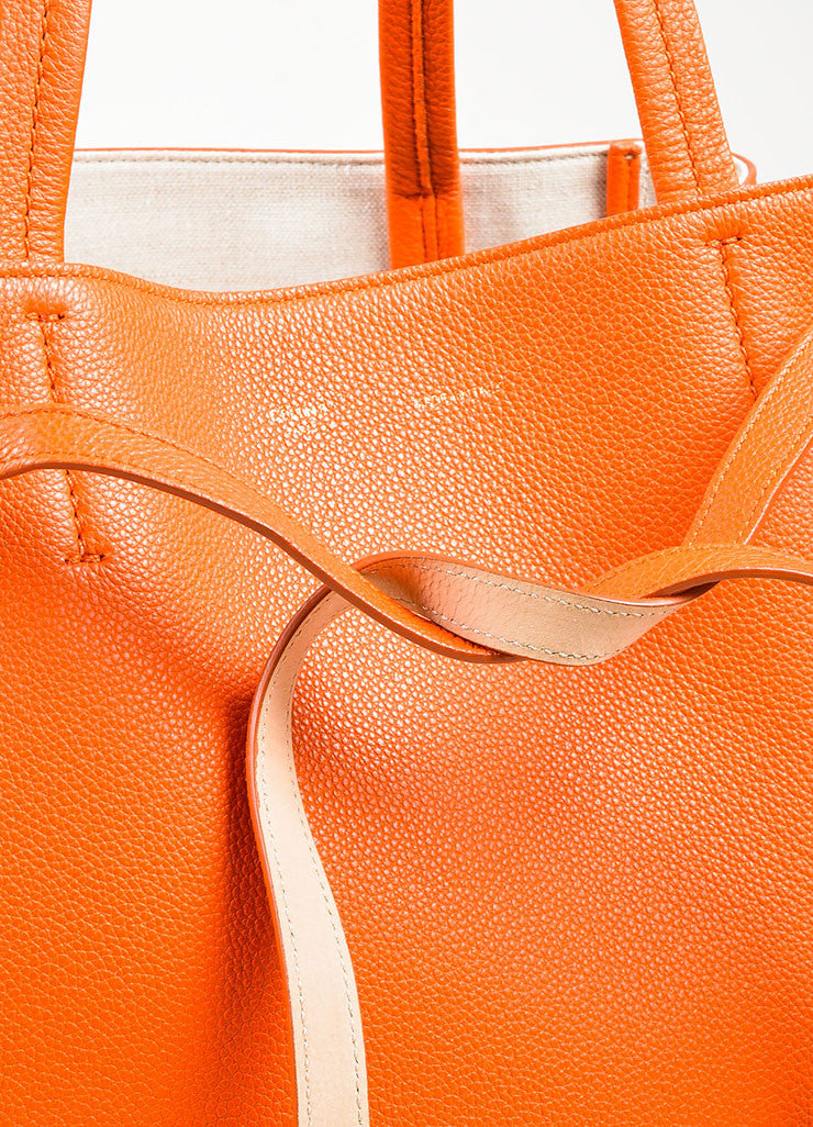 "Celine Orange Pebbled Leather Small ""Phantom Cabas"" Tie Tote Bag Detail 2"