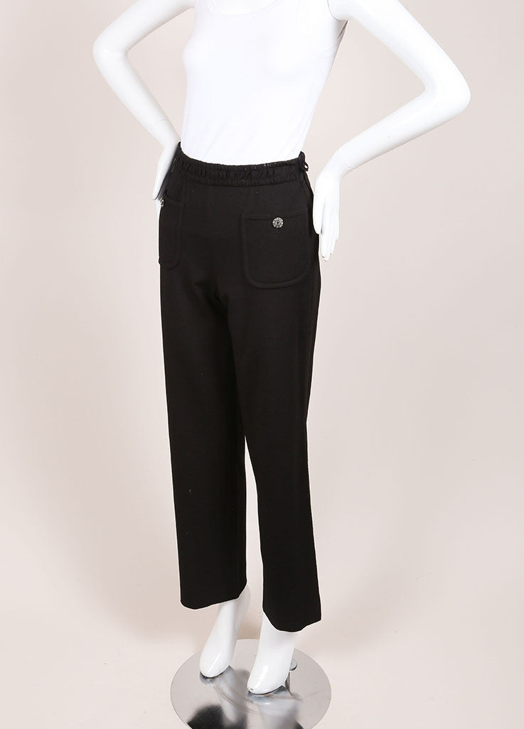 Chanel Black Wide Leg Gripoix Embellished Stretch Pants Sideview